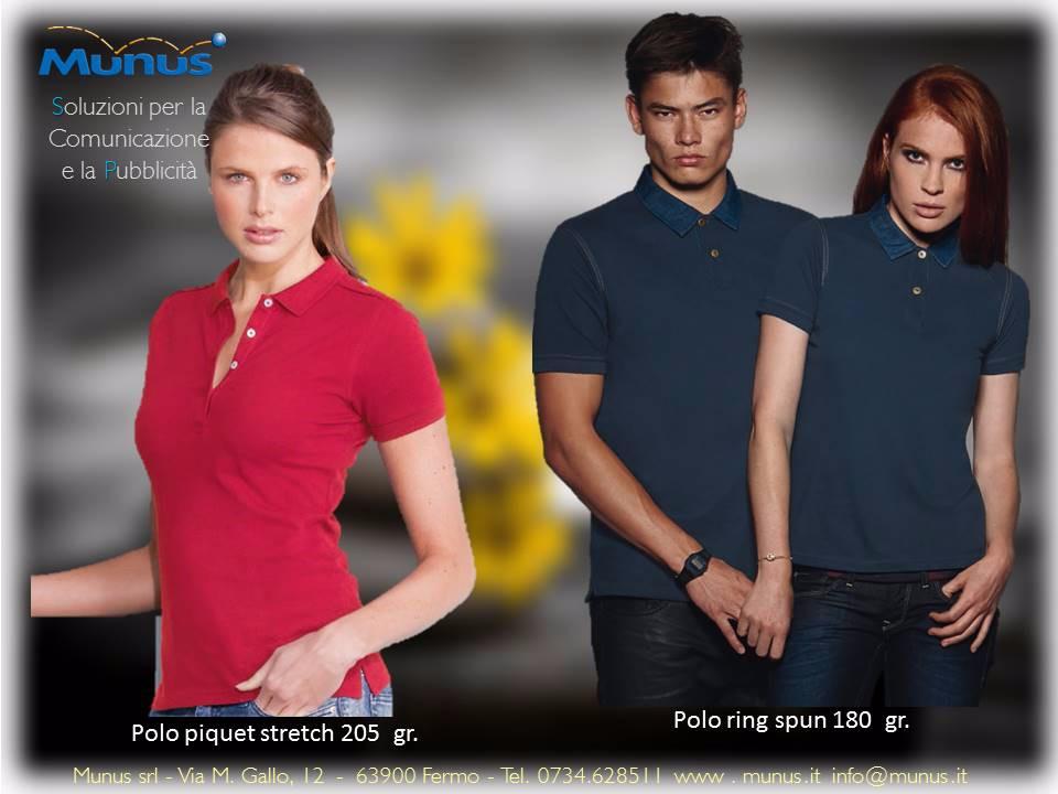 Munus pubblicità fermo – abbigliamento personalizzato polo ring spun
